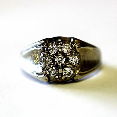14k white gold .42ct diamond cluster ring vintage 5.7g estate antique unisex