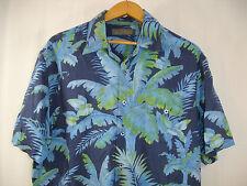 Tori Richard Shirt Sz L Celebrating 50 Years Blue 100% Silk Hawaiian Camp Aloha