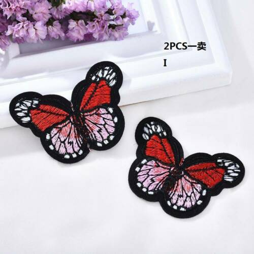 2Pcs Embroidered Butterfly Iron-on Sew-on Fabric Applique Patches Badge Handmade