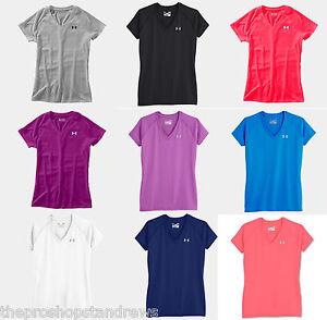nouveau-under-Armour-Femmes-Tech-Manches-courtes-Mesdames-col-en-V-T-shirt-Top-1228321