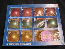 Vintage 12 Multi Color SHINY BRITE, Glass Christmas Ornaments