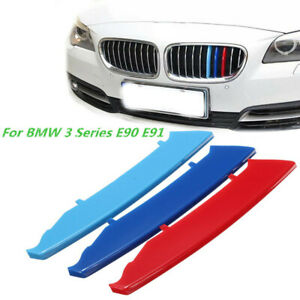 3-Color-M-Sport-Kidney-Grille-Cover-Stripe-Clip-Decal-For-BMW-3-Series-E90-E91