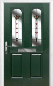 2 Panel 2 Arch Fleur Composite Front Door in Green Various sizes