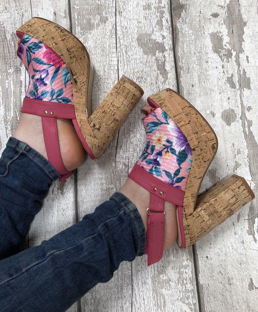 pink platform heels Cork Size 8 Dolcis Floral Cork heels Effect Sling Back Peep Toe Sandal 894da3
