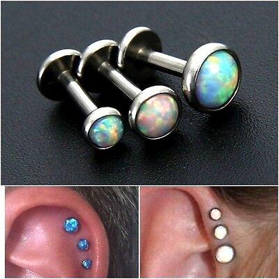 Set Of 3 Opal Round Set Labret Studs Triple Piercing Forward Helix Tragus Ear Ebay
