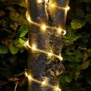 Solar powered rope light with 100 leds 105m perfect for gardens or image is loading solar powered rope light with 100 leds 10 aloadofball Image collections