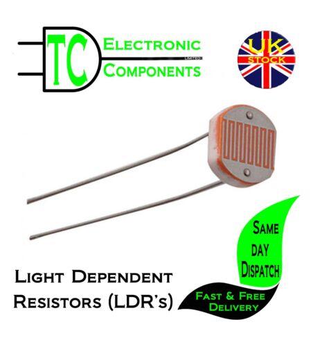Lumière Dépendant des résistances LDR/'s kits disponibles Photoresistors 10 Pack 7 Types
