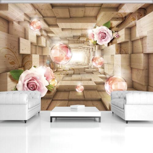 Image poster la fresque papier peint abstraction photo nature rose bois 3d rose 3fx3358p8