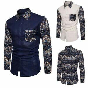 Men-039-s-long-sleeve-T-shirt-slim-fit-floral-stylish-top-casual-formal-luxury-short