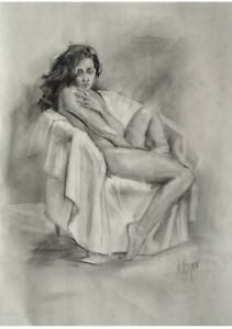 signed drawing nude woman charcoal pencil nudes naked girl by woynar