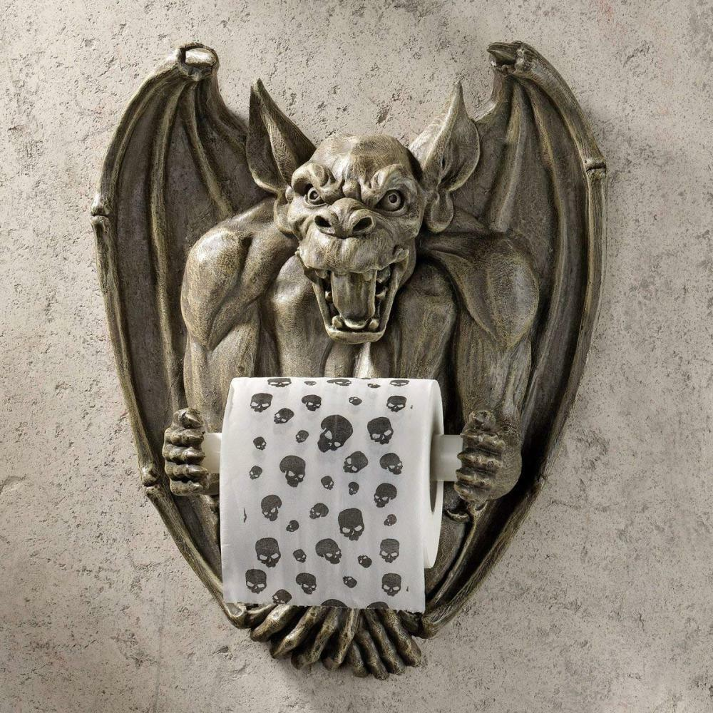 Toilet Paper Holder - Flush the Gargoyle Gothic Bathroom Decor - Roll - Wall