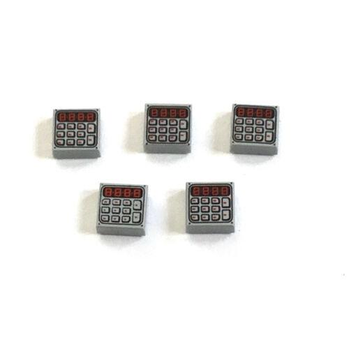 5 Lego Fliese Fliesen 1x1 bedruckt Rechner Tastatur Keybad hellgrau NEU 3070b