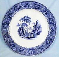 Antique Blue Transferware Dinner Plate Isola Bella Wm Adams & Sons Scalloped