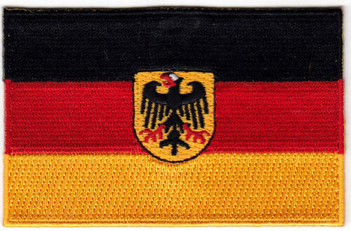 GERMAN//EAGLE FLAG Iron On Embroidered Patch German Flag 3 1//2/""