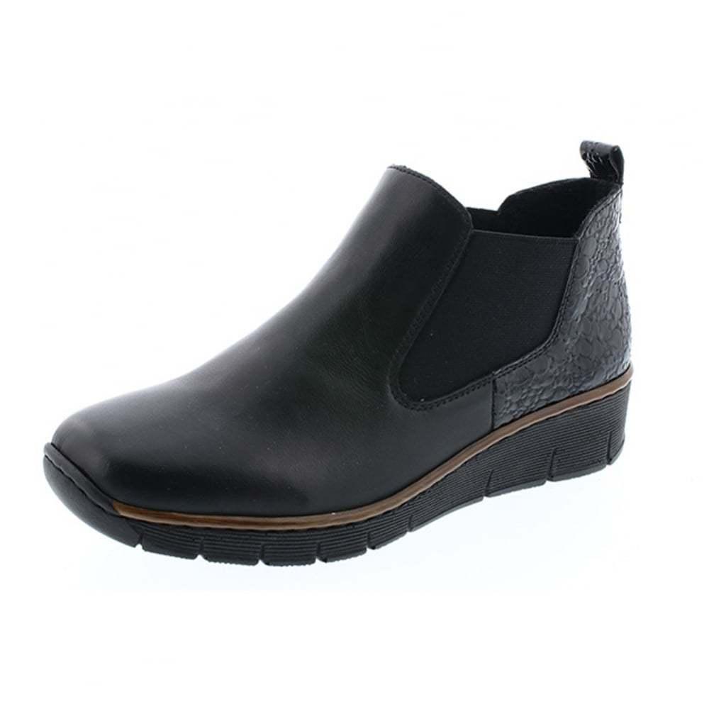 Rieker Negro Bajo Cuña Chelsea Boot para Mujer Botín Slip On Boot