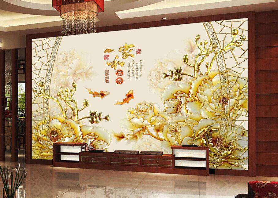 3D Goldene Pfingstrose 5 Tapete Tapeten Mauer Foto Familie Tapete Wandgemälde DE