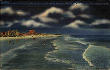 Daytona Beach Florida America vintage postcard 1947 gelaufen Beach by moonlight