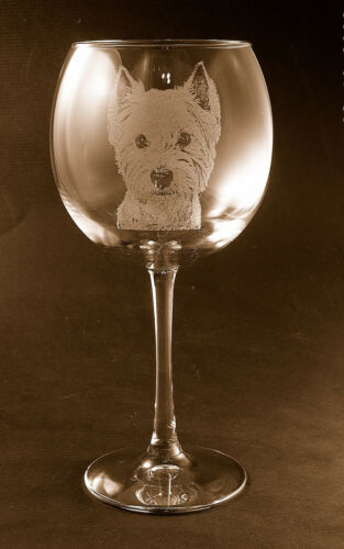 Etched West Highland Terrier//Westie on Elegant Red Wine Glasses New set of  2