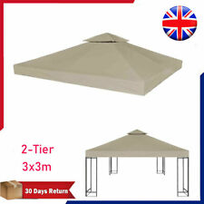 2-Tier Gazebo Top Cover 3x3//3.6x3.6m Taupe Roof Replacement Tent Canopy  /&