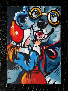 ACEO-034-Little-Red-Riding-Hood-034-Fairy-Tale-Original-Illustration-by-Bastet