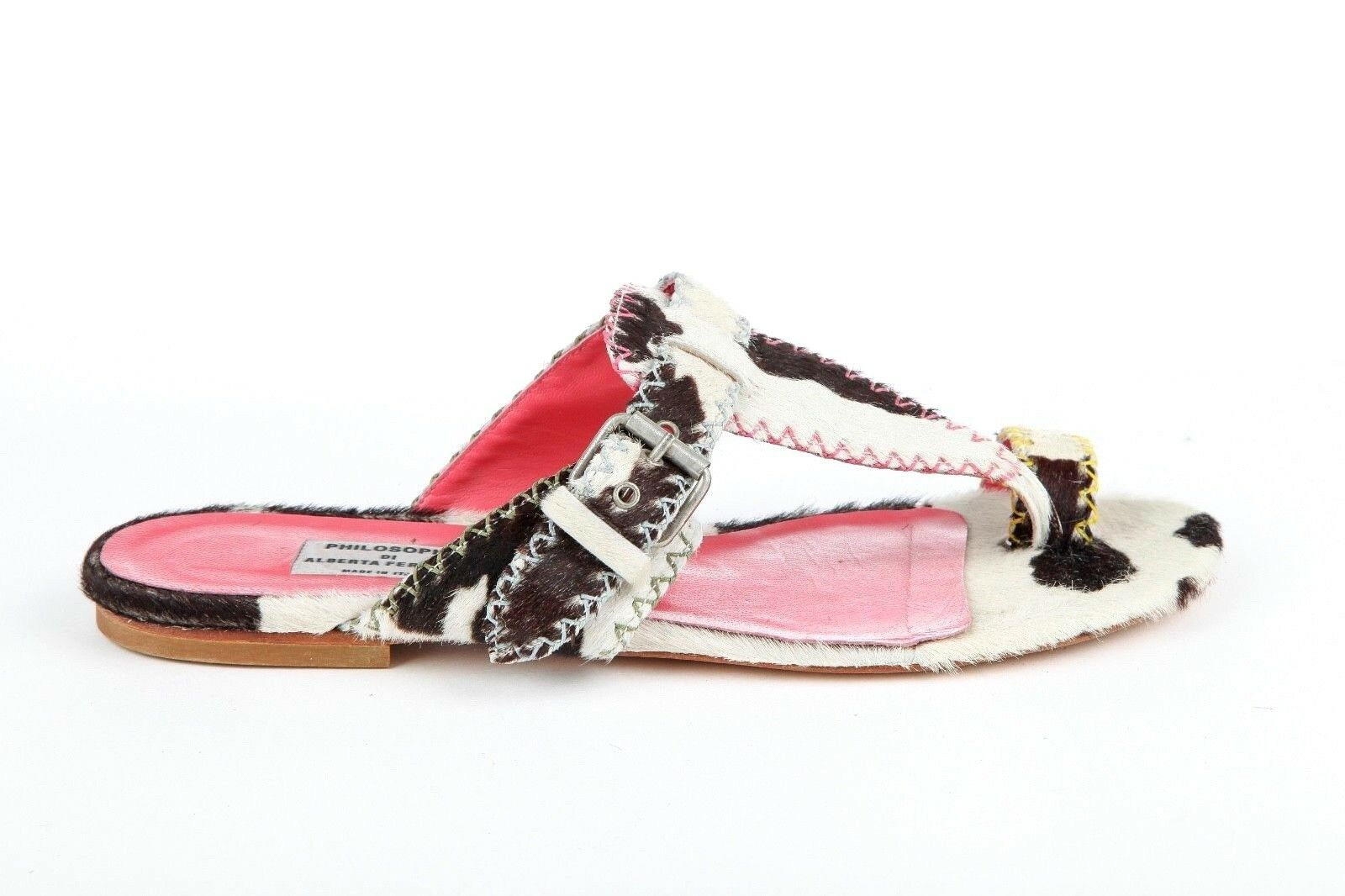 395 PHILOSOPHY DI ALBERTA FERRETTI Sandals EUR 37 Cowhide Brown Pink White Flat
