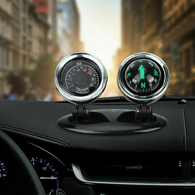 Car Compass Dashboard Dash Mount Navigation Thermometer Hygrometer Auto Interior