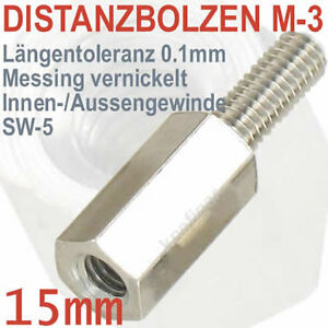Abstandsbolzen-Messing-vernickelt-Innen-Aussen-M-3-Laenge-15-mm-deutsche-Qualitaet