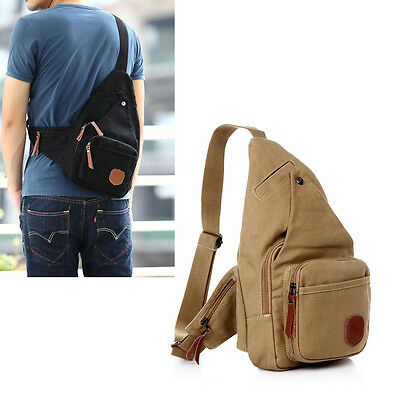 Men's Canvas Travel Hiking Riding Bike Motorcycle Messenger Sling Chest Bag