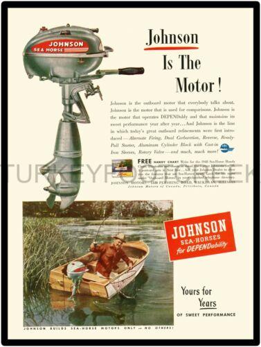 """1948 JOHNSON SEA HORSE OUTBOARD AD 9/"""" x 12/"""" ALUMINUM Sign"""