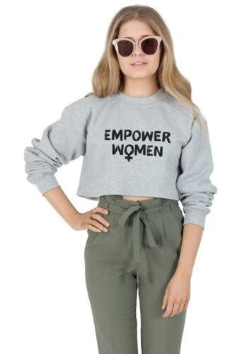 Dare potere Donne Crop Sweater Maglione Top Ritagliata femminista FEMMINISMO Girl Power