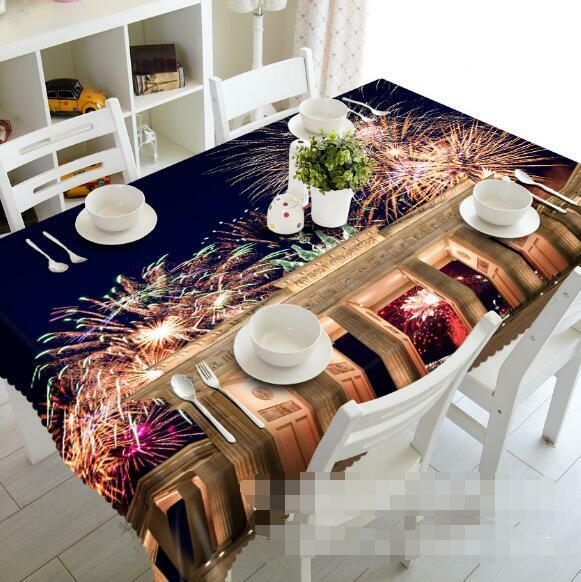 3D Couleur Firework Tablecloth Table Cover Cloth Birthday Party Event AJ WALLPAPER