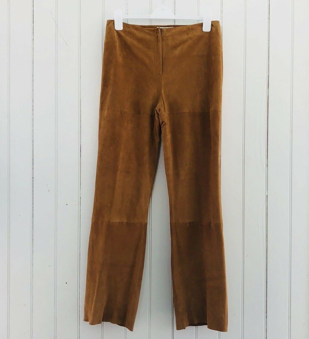 Goat Suede Pants Brooks Bredhers Womens 12 Tan Straight Leg Lined India Rare NWT