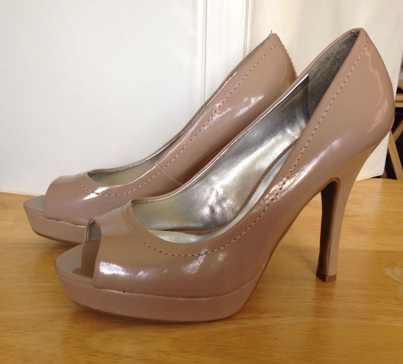 Women's CANDIES Tan Open Peep Shoes Toe High Heel Platform Shoes Peep Sz 9 Medium 4.5