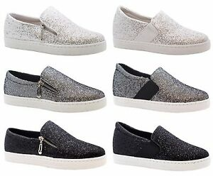 LADIES WOMENS ZIP TRAINERS BLACK SIZE NEW GLITTER RUNNING FLAT SUMMER LACE PULL