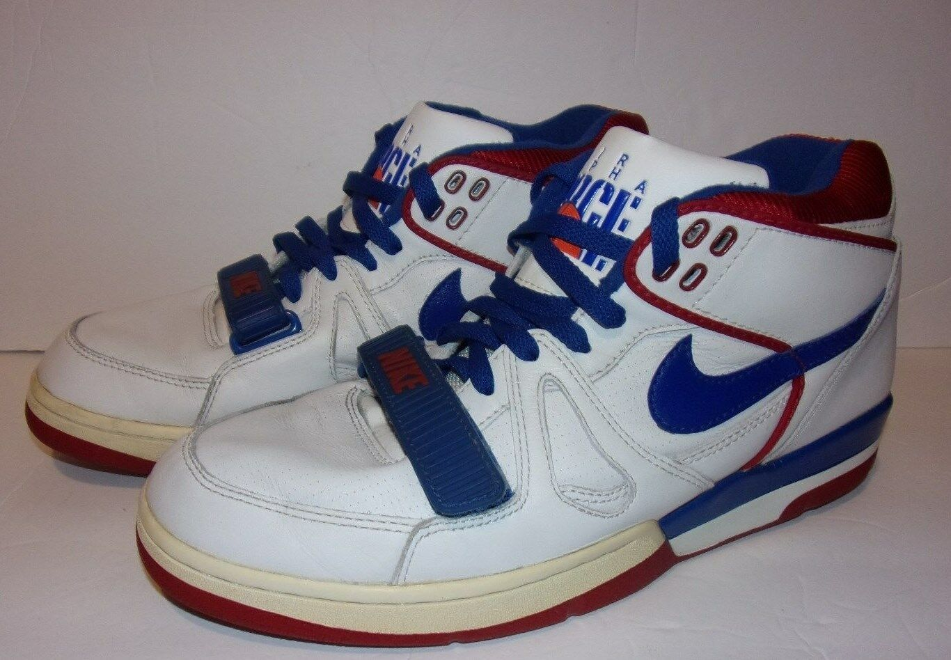 NIKE AIR ALPHA FORCE SHOES SIZE 11.5 ( 2003)  WHITE RED blueE Pre-Owned