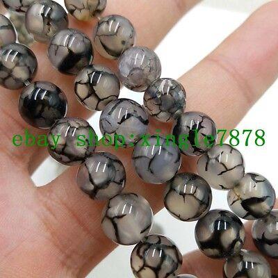 "10mm Black /& White Dragon Veins Agate Round Gemstone Loose Beads 15/"""