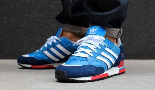 Adidas Originals Mens ZX 750 Trainers blueebird bluee Navy Red White
