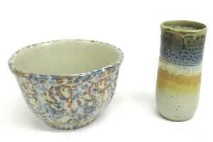 Lot-Of-2-Decorative-Pottery-Handmade-Artist-Signed-Medium-Bowl-amp-Vase