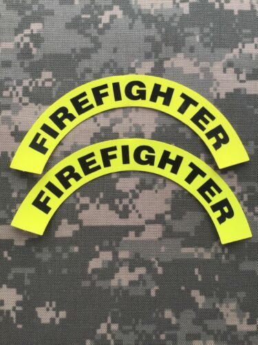 Pair Of 1st Responder// EMS// Fire Helmet Crescent Decal Firefighter Lime Green