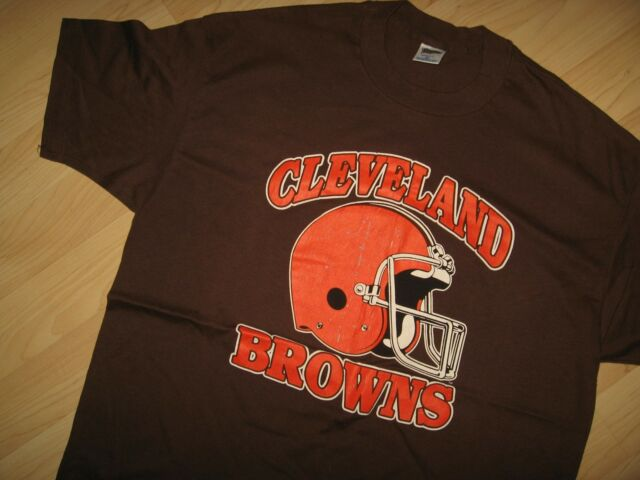 Cleveland Browns Tee - Vintage 1970s Thin Trench USA NFL Football T Shirt XL/XXL