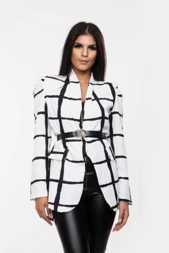 New Women Ladies Special Belted Check Print Blazer For Casual And Formal Wear UK
