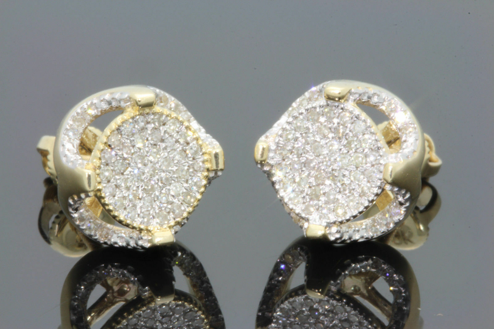 Diamond Earrings Mens & Ladies 10K Yellow gold Over Round Cut Studs 1.20 Ct