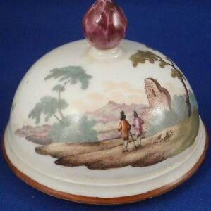 Antique-18thC-Frankenthal-Porcelain-Scene-Scenic-Coffee-Pot-Lid-Porzellan-Deckel