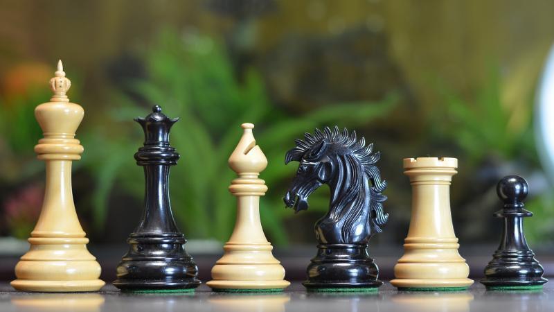The Ruffian American Series Staunton Chess Pieces in Ebony   Box Wood SKU-VJ027