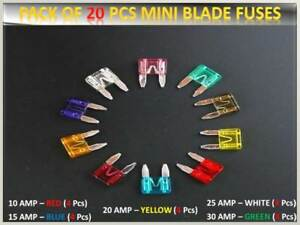 20pcs Dodge Car Fuses Set Mini Blade 10 15 20 25 30amp Top Quality