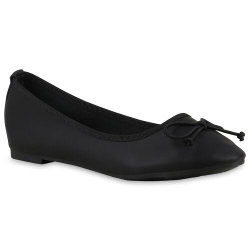 Schwarze Damen Ballerinas Bequeme Flats Schuhe Leder-Optik 814897 Trendy Neu