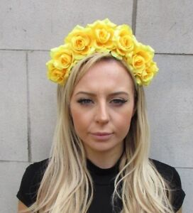 Yellow rose flower headband hair crown festival garland hair band image is loading yellow rose flower headband hair crown festival garland mightylinksfo