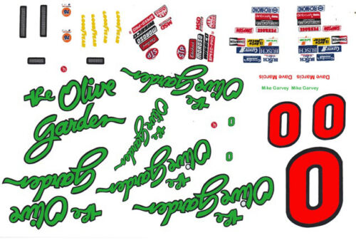 #0 Olive Garden Chevy Mike Garvey 1//32nd Scale Slot Car Decal