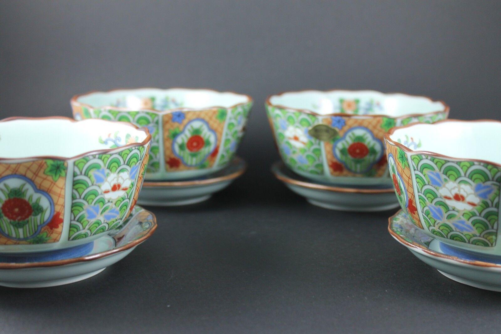Japonais Porcelaine Moderne Arita Céramique 4 Bols et 5 Plat Set