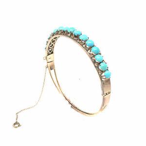 Turquoise-Cabochon-Round-14K-Rose-Gold-Bangle-Bracelet-size-7